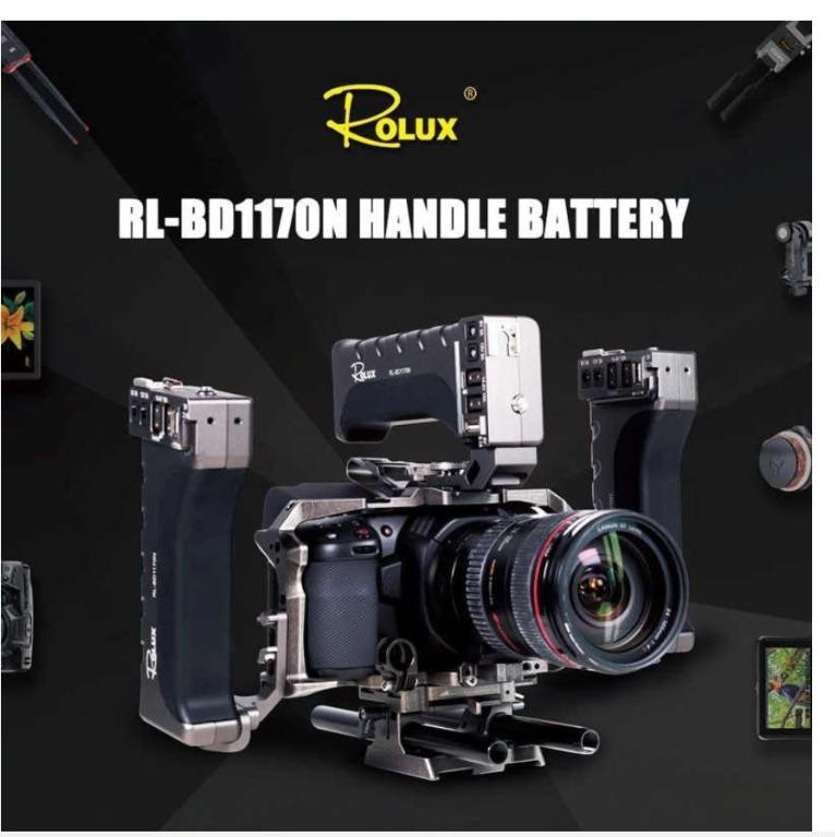 ROLUX RL-BD1170N Battery Handle Power Supply System for BMPCC 4K 6K Camera Rabbit Cage Side Handle