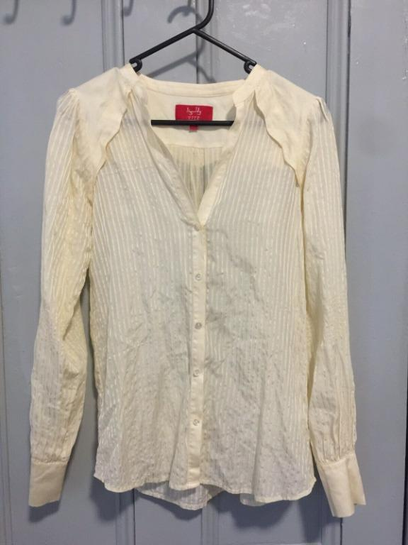 TIGERLILY Silk Blend Sheer Blouse In Cream With Satin Trim Detail AU 8 RRP$159