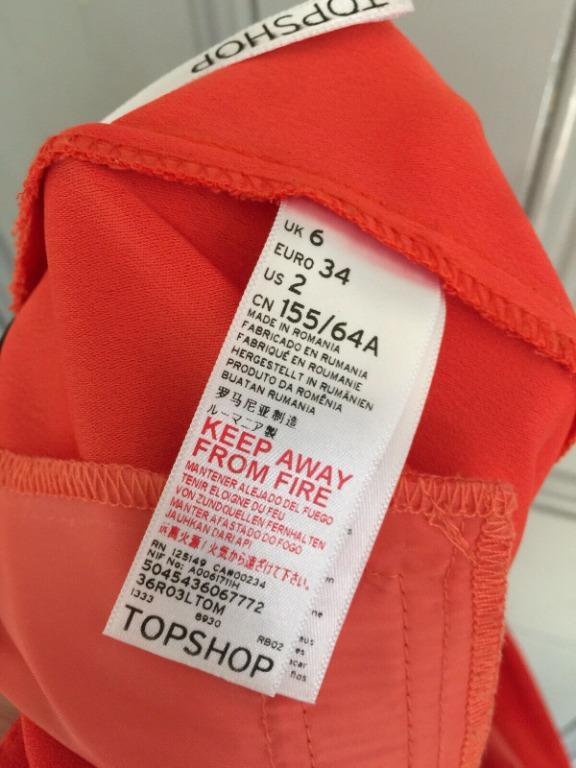 TOPSHOP Orange Front Pleat Cropped Wide Leg Culottes EU 34 - Worn once