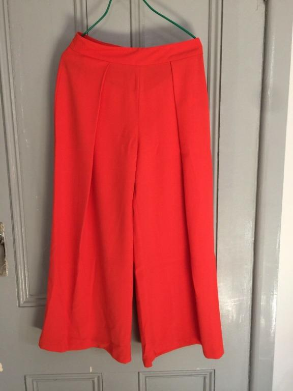 TOPSHOP Orange Front Pleat Cropped Wide Leg Culottes EU 34 - Worn once