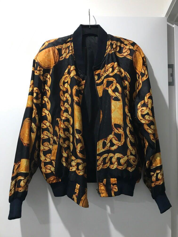 Vintage unisex chain bomber jacket size S/M