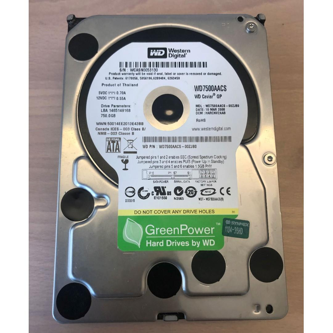 WD Western Digital 750GB GreenPower SATA 硬碟