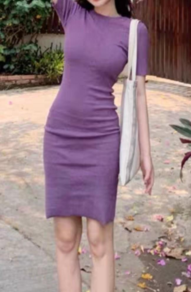 Women Ladies Purple Midi Dress (Free Size)