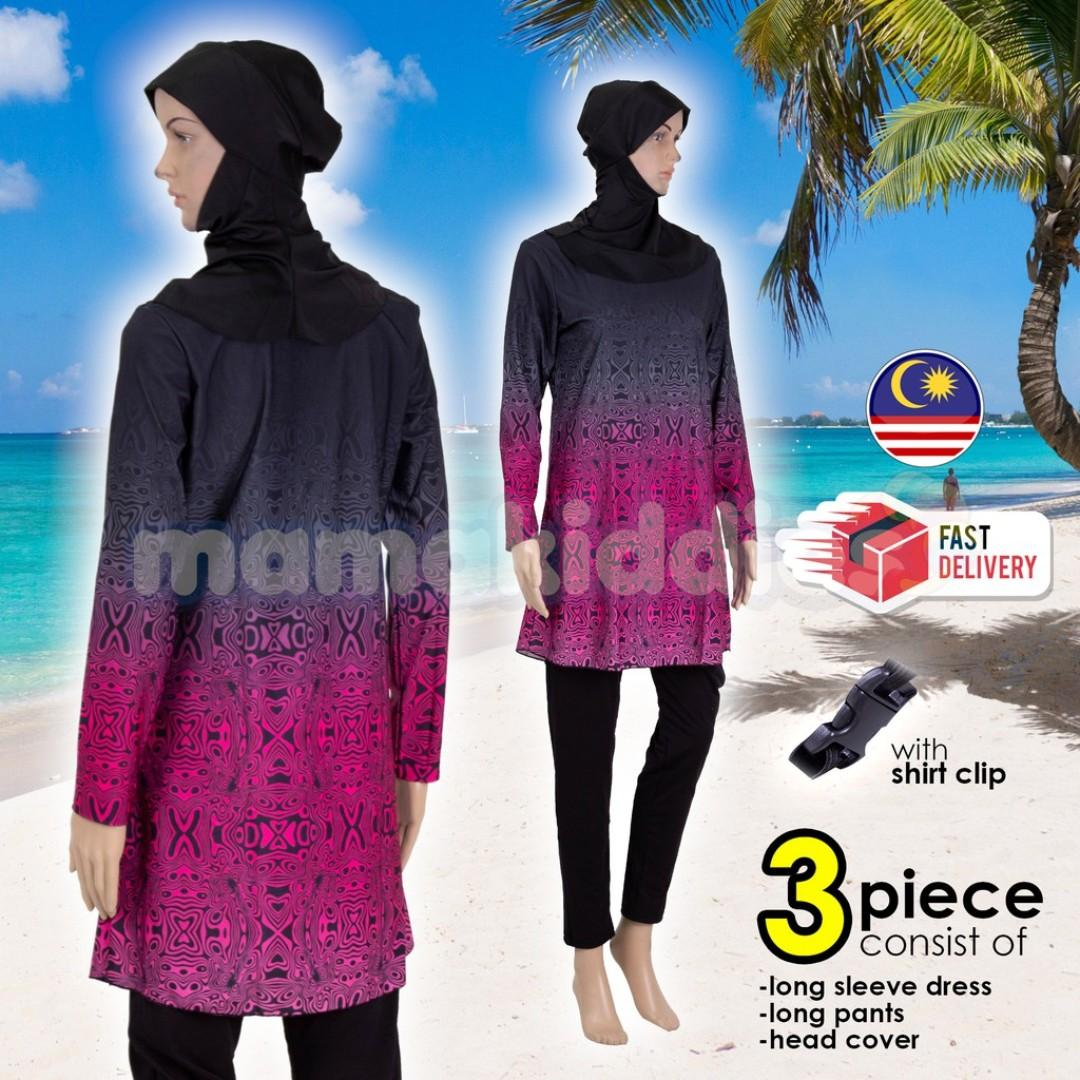 Women Muslimah Swimming Suit Swimwear Baju Renang SPF material Swirly BLACK RED