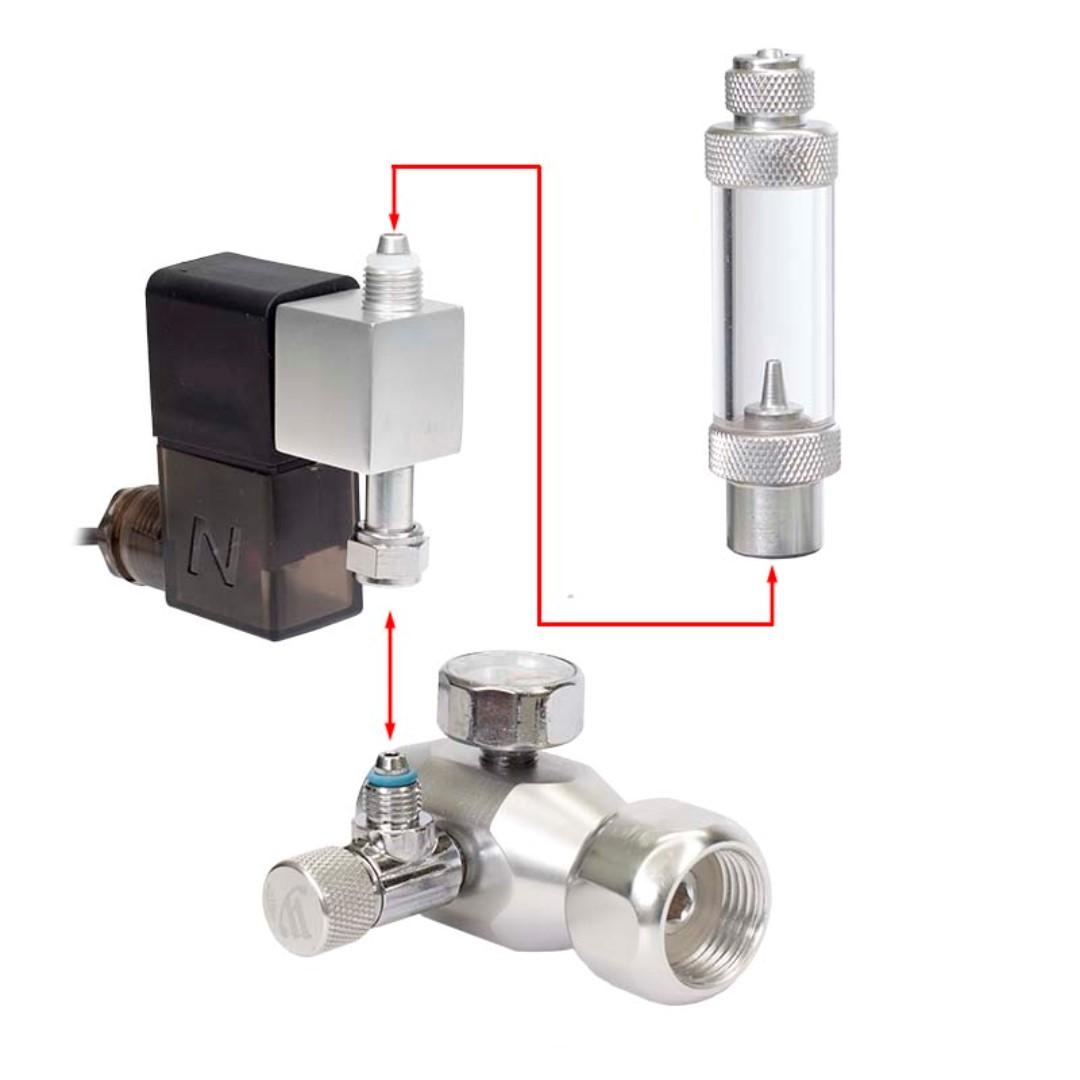 Wyin CO2 Regulator Bubble Counter Check Valve with Removable Solenoid Control Valve