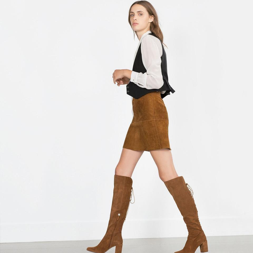 Zara Suede Laceup Boots