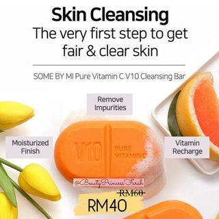✨[SOME BY MI] Pure Vitamin C V10 Cleansing Bar (With Bubble net)