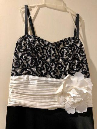 Black / white evening dress