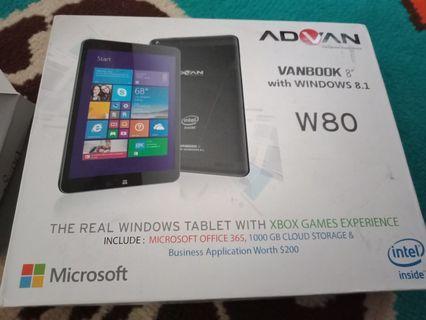 Advan vanbook windows 8.1 W80 setara laptop. Fullset