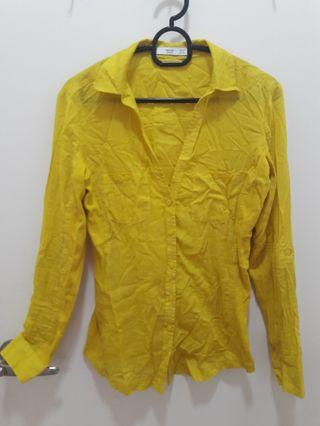 Mango Long Sleeve Yellow Shirt
