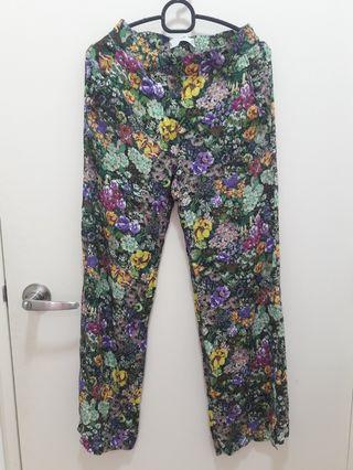 Mango Floral Straight Pants