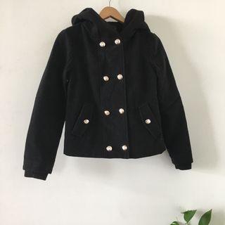 Zara | 全新 西班牙製 厚實 黑色 連帽 排釦 毛料 大衣 外套