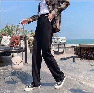 卡其色 黑色 高腰 寬褲 直筒 垂墜 西裝褲 直筒褲