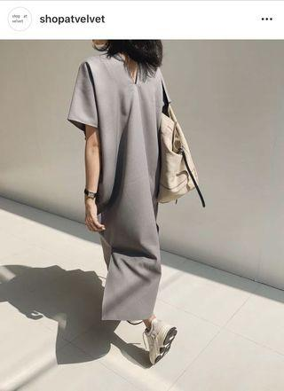 Grey elevation dress Shop at Velvet