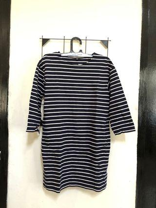 Navy Stripes Midi Dress Uniqlo