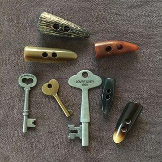 日本購回 飾品材料 鑰匙 牛角釦 一批合售