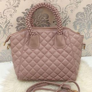 HUER TULLY BRAIDED TOP HANDLE TOTE BAG (PINK)  #joinoktober