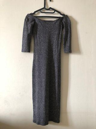Mididress Zara small black pattern #VISITSINGAPORE