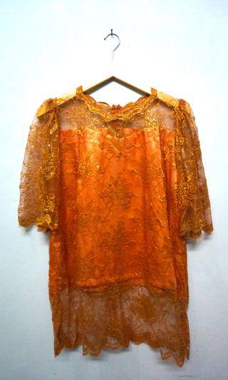 #RamadanSale Lace Top / blouse brukat gold bigsize