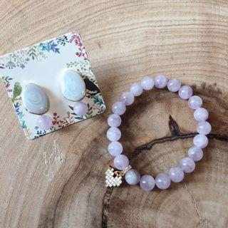 Jade Lavender Bracelet & Earring