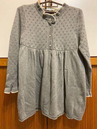 灰色 鏤空小花 針織洋裝