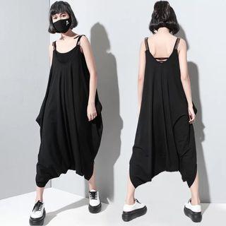 近全新黑色可調式皮肩帶個性飛鼠吊帶褲