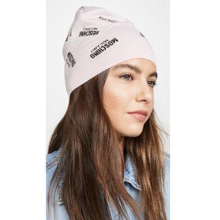 美翻了 ! MOSCHINO 淡粉色Logo毛線帽~義大利製造!設計師限量款~