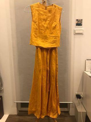 日本麻料橘色無袖洋裝