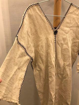 日本民族風麻料洋裝