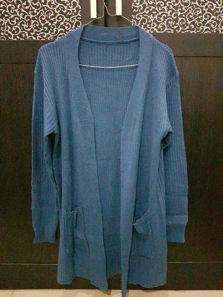 Cardigan panjang Rajut biru