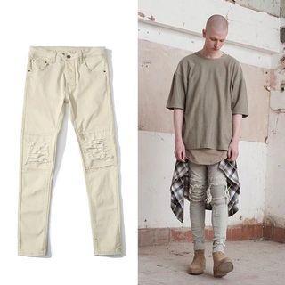 歐美BIKER機車褶皺破洞牛仔褲修身高街潮男彈力小腳褲大碼褲Jeans