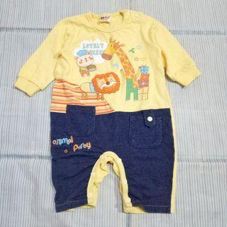 買一送一!近全新 嬰幼兒 冬季 純棉保暖 連身開扣包屁衣 長袖 6~12個月 鵝黃色+全新 夏裝 幫寶適 純棉 短袖上衣 粉紅色