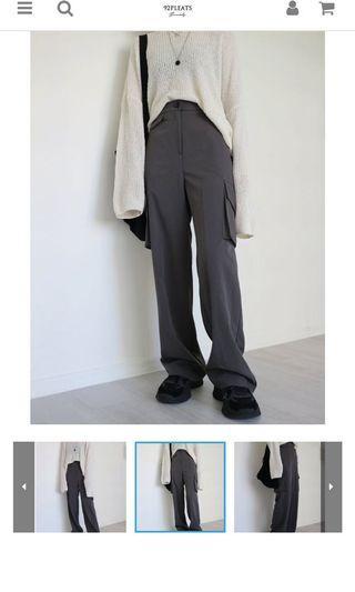 全新 正韓 炭灰色口袋工裝長褲 工裝褲 92pleats同款 stylenanda(含運)