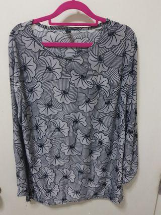 Grey floral blouse