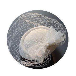 蕾絲網紗面紗小禮帽新娘頭飾