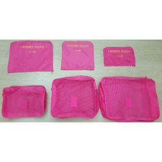 全新Laundry pouch韓版旅行收納六件組/行李袋/收納包