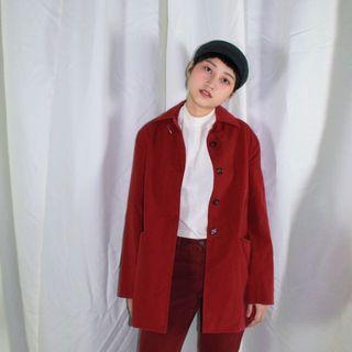 Mubi ✼暗紅色領扣風衣✼ 極簡素色 領口扣環 簡潔隱藏扣門襟 合身中短款 法式mod外套 日本古着Vintage