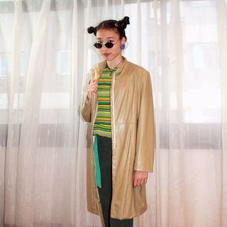 ✼淺橄欖綠皮風衣✼ 小立領 淺色 皮質 合身 極簡素面 口袋 人造皮 皮衣 中長款長袖拉鍊外套 日本古着Vintage