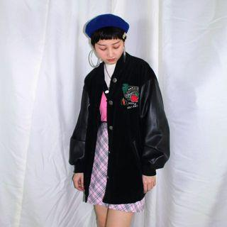 Slotus ✼黑色花朵棒球外套✼ 粗坑條燈芯絨 皮質拚袖 刺繡 立體花 寬鬆長袖夾克 街頭 日本古着Vintage