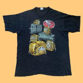 JCI:Vintage NFL 舊金山 49人 冠軍戒子系列 隊徽 漫畫短T / 古著90s / 西岸灣區 / 嘻哈