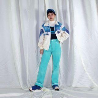 Ellesse ✼藍白刺繡風衣夾克✼ 立領 星星漸層 愛力艾思運動品牌 寬鬆中性 長袖外套  日本古着Vintage