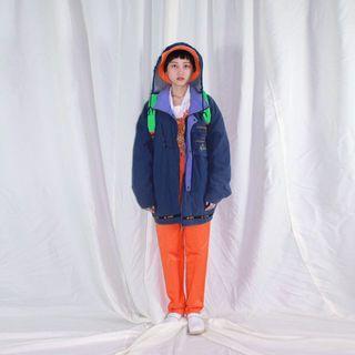 Kappa ✼藍紫色連帽風衣✼ 卡帕 刺繡口袋 寬鬆Oversize 鋪棉 戶外長袖外套 帽可收 日本古着Vintage
