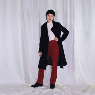 Rebecca Taylor ✼黑色羊毛收腰大衣✼ 日本製 翻領合身 絨布 A字裙中長款 長袖毛料 古着Vintage
