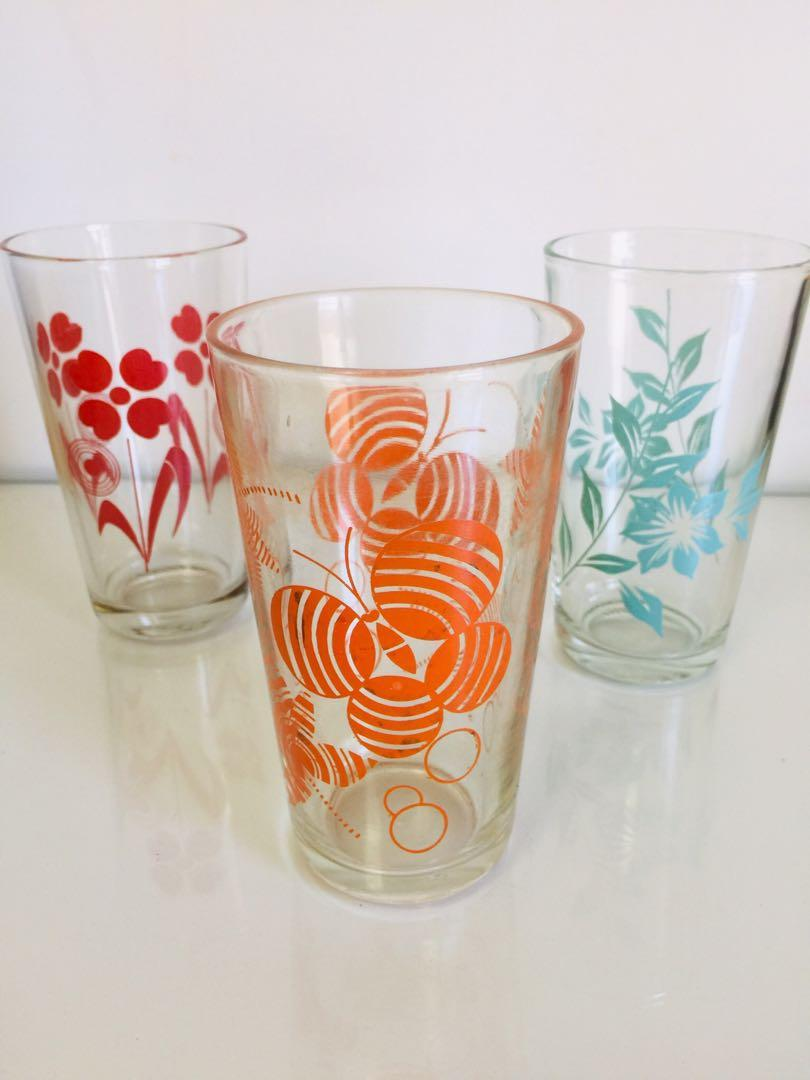 特價大拍賣!文青風普普風台灣懷舊早期玻璃杯老玻璃杯杯子3個一組200