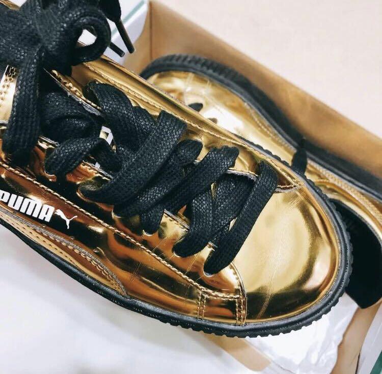 9成新 東京購 37.5 ) PUMA 金色厚底鞋 Basket Platform Metallic