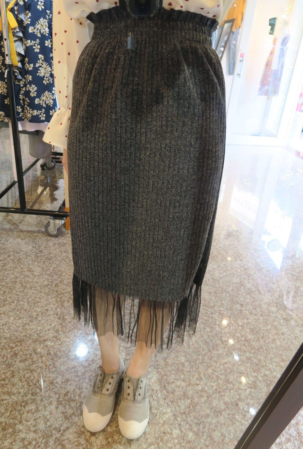 針織花苞拼接紗裙
