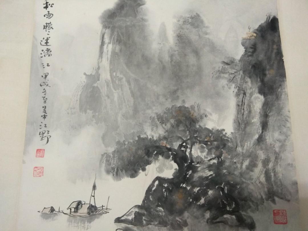 江野畫作(秋雨朦朦迷離江