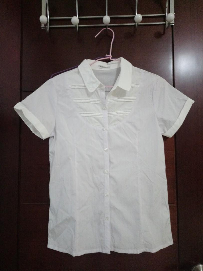 短袖條紋白襯衫/女童