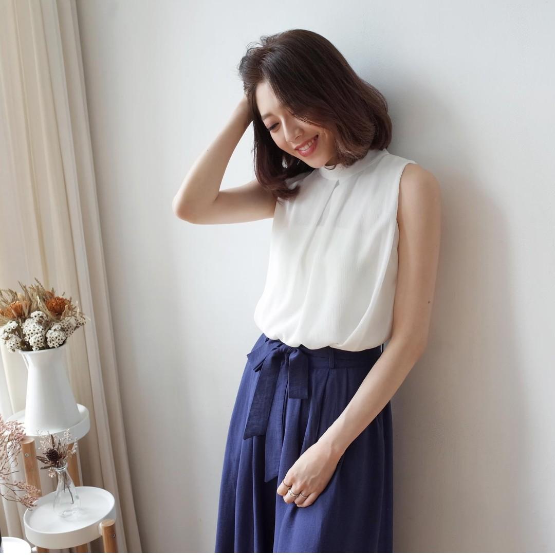 (全新) 靛藍色舒適綁帶後鬆緊氣質棉麻寬褲裙 韓系飄逸輕薄透氣寬褲 sweesa水莎