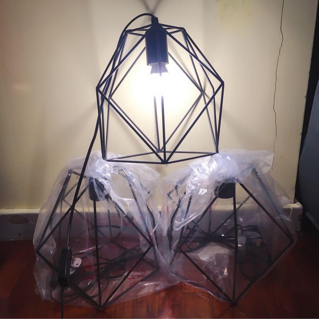 港島沿線面交 $80/2⃣️個 北歐ins風黑色鐵藝燈罩(不包燈泡)